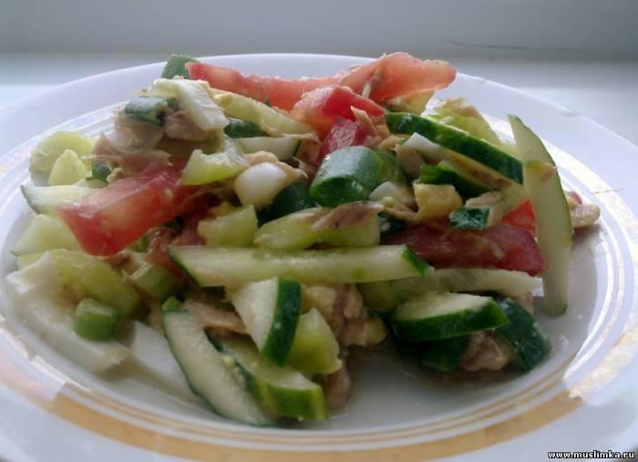 рецепт салата из консервированного тунца с руколой